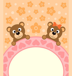 Cartoon background card with bears vector