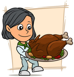cartoon girl character with fried turkey on tray vector image