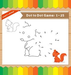 Cartoon Squirrel Dot to dot educational game for vector image