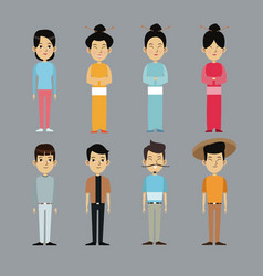 character oriental people with traditional clothes vector image