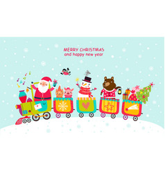 Cheerful train christmas card vector