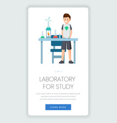 Chemistry for kids mobile webpage template vector