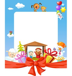 christmas frame - nativity with jesus maria and vector image
