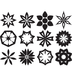 Collection of 12 different stylistic flowers black vector