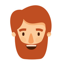Colorful image caricature front view bearded man vector