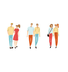 Colorful set with young couple vector