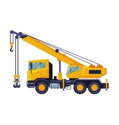 Construction crane truck heavy cargo vector