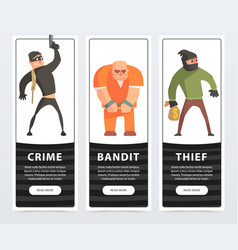 crime bandit thief criminal and convict banners vector image