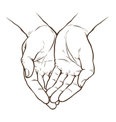 Cupped hands folded arms sketch hand drawn vector
