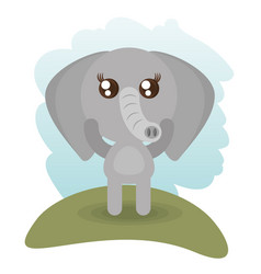 cute elephant animal wildlife vector image