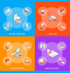 digital medicine 3d banner set isometric view vector image