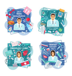 Doctors with tools pills and human organs vector