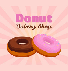 donut poster banner cartoon flat style vector image