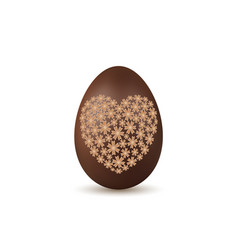 easter egg 3d chocolate brown egg flower heart vector image