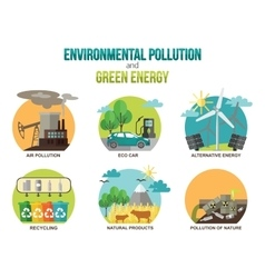 Environmental pollution and green energy ecology vector