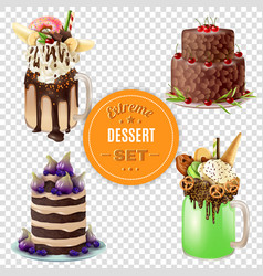 Extreme dessert combos transparent set vector