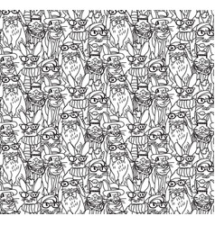 fashion hipster rabbits big group seamless pattern vector image