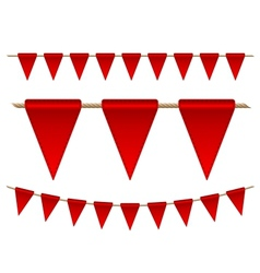 Festive red flags on white background vector image