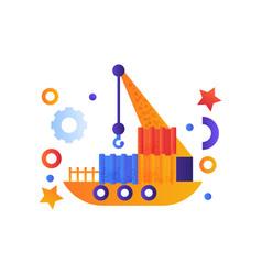 floating crane industrial ship sea travel retro vector image
