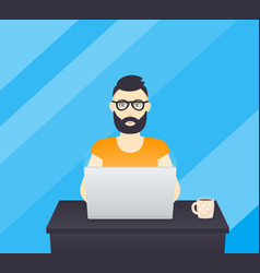freelancer working at laptop bearded man at work vector image