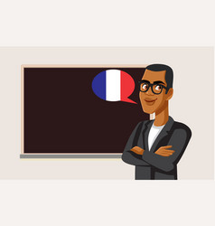 French teacher standing in front vector