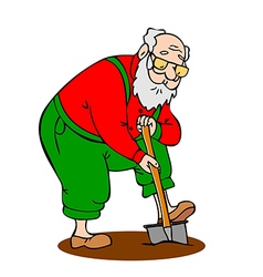 Funny old man working in the garden vector