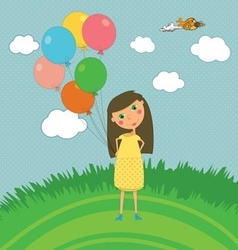 Girl Outdoors with Balloons vector