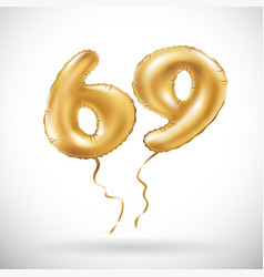 Golden number 69 sixty nine metallic balloon vector