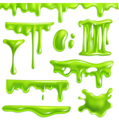Green slime realistic goo splashes and mucus vector