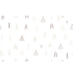 hand drawn christmas tree seamless pattern vector image