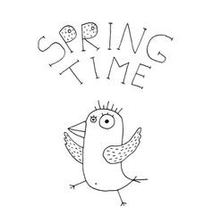 hand drawn spring bird vector image