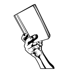 Hand holding a book vector