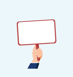 hand holding placard flat for web banners vector image