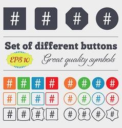 Hash tag icon Big set of colorful diverse vector