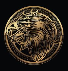 head eagle head on circle gold logo vector image