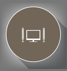 home theater sign white icon on brown vector image