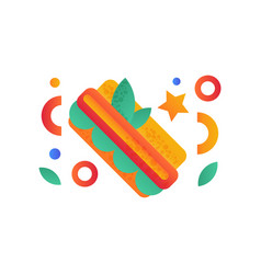hotdog fast food dish on a vector image