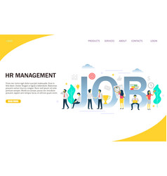 Hr management website landing page design vector