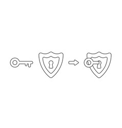 icon concept shield with keyhole and key vector image