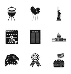 Independence day icon set simple style vector