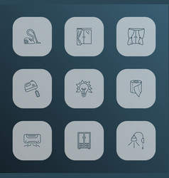 interior icons line style set with curtain vacuum vector image