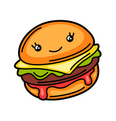 Kawaii burger vector
