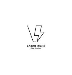 Letter v flash logo design vector