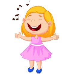 Little girl singing vector