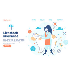 livestock insurance concept farmer and cow vector image
