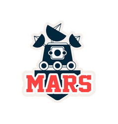 Logo of mars exploration rover with satellites and vector