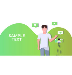 man blogger recording video blog with digital vector image
