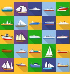 marine vessels types icons set flat style vector image