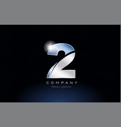 Metal blue number 2 two logo company icon design vector