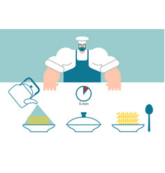 noodles cooking instruction chef directions vector image